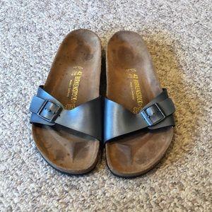 Birkenstock grey Madrid strap slip on sandals 11